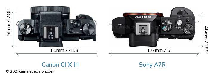 Canon G1 X III vs Sony A7R Camera Size Comparison - Top View