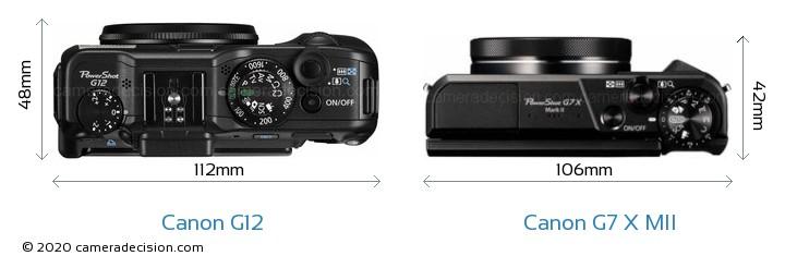 Canon G12 vs Canon G7 X MII Camera Size Comparison - Top View