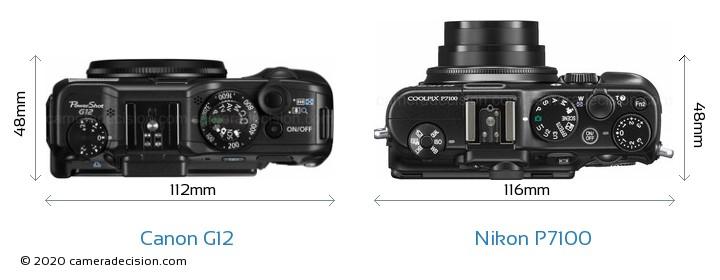 Canon G12 vs Nikon P7100 Camera Size Comparison - Top View