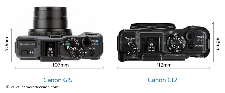 Canon G15 vs Canon G12 Camera Size Comparison - Top View