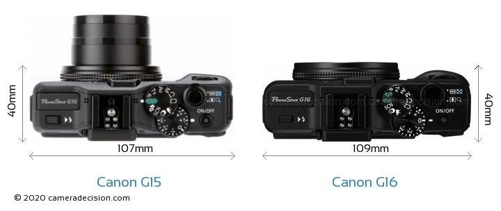 Canon G15 vs Canon G16 Camera Size Comparison - Top View