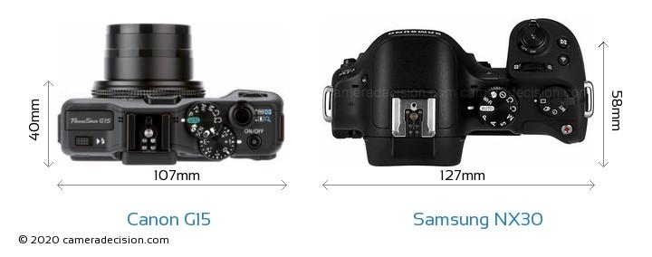Canon G15 vs Samsung NX30 Camera Size Comparison - Top View
