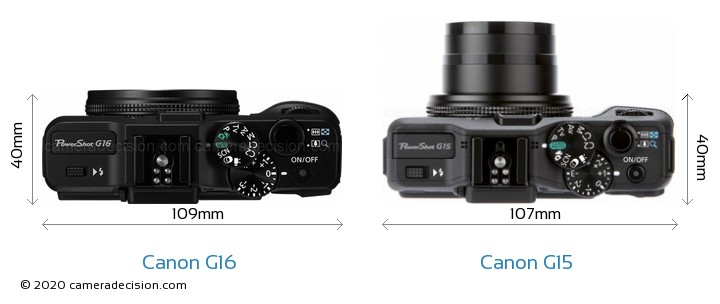 Canon G16 vs Canon G15 Camera Size Comparison - Top View