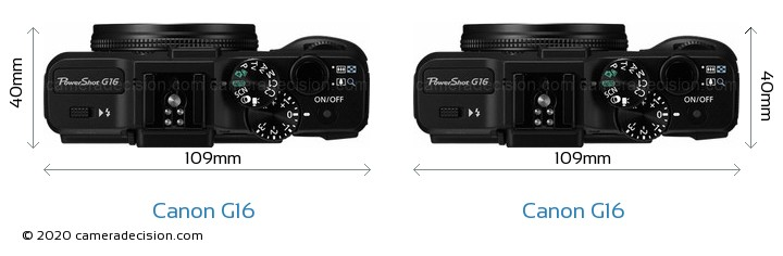 Canon G16 vs Canon G16 Camera Size Comparison - Top View