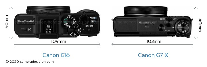 Canon G16 vs Canon G7 X Camera Size Comparison - Top View