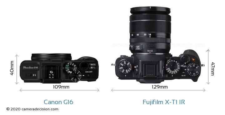 Canon G16 vs Fujifilm X-T1 IR Camera Size Comparison - Top View
