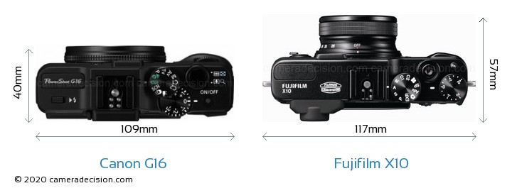 Canon G16 vs Fujifilm X10 Camera Size Comparison - Top View