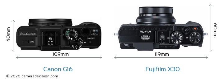 Canon G16 vs Fujifilm X30 Camera Size Comparison - Top View