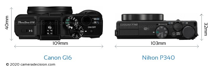 Canon G16 vs Nikon P340 Camera Size Comparison - Top View