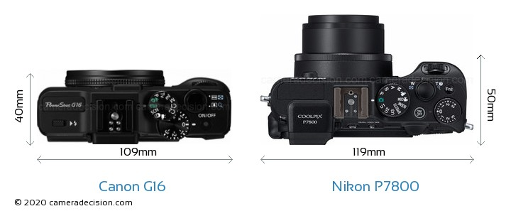 Canon G16 vs Nikon P7800 Camera Size Comparison - Top View