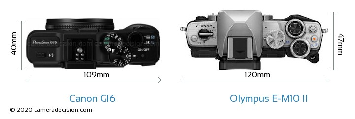 Canon G16 vs Olympus E-M10 II Camera Size Comparison - Top View