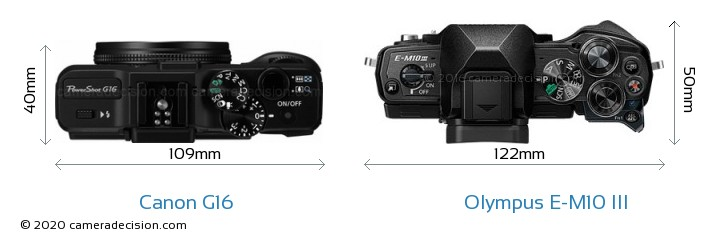Canon G16 vs Olympus E-M10 MIII Camera Size Comparison - Top View