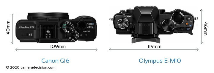 Canon G16 vs Olympus E-M10 Camera Size Comparison - Top View