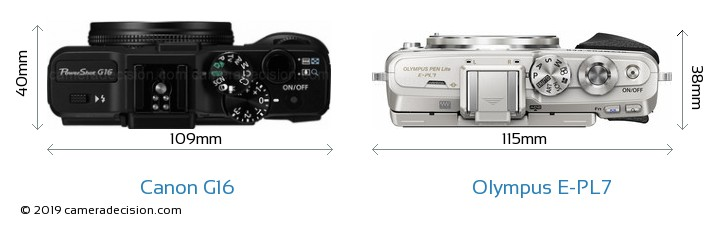 Canon G16 vs Olympus E-PL7 Camera Size Comparison - Top View