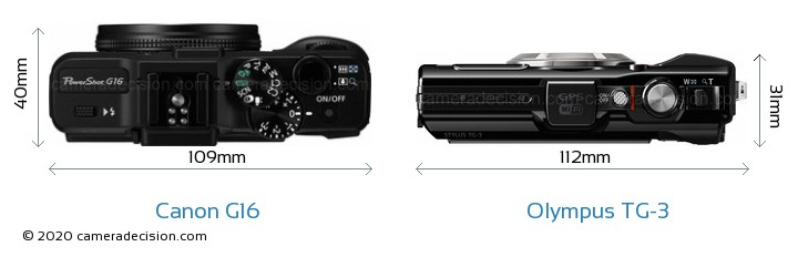 Canon G16 vs Olympus TG-3 Camera Size Comparison - Top View