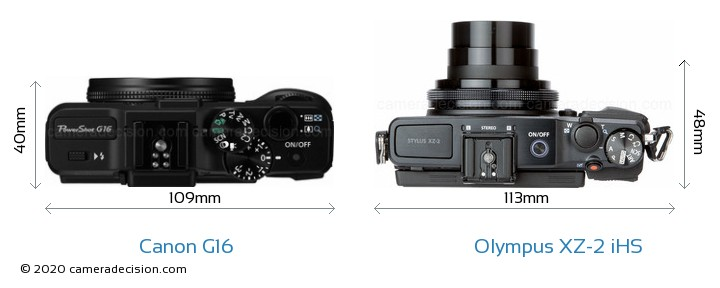 Canon G16 vs Olympus XZ-2 iHS Camera Size Comparison - Top View