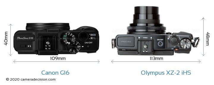 Canon G16 vs Olympus XZ-2 iHS Camera Size Comparison - Top View