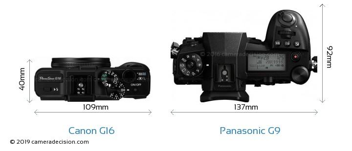 Canon G16 vs Panasonic G9 Camera Size Comparison - Top View