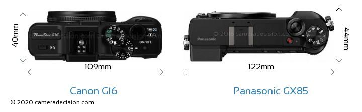 Canon G16 vs Panasonic GX85 Camera Size Comparison - Top View
