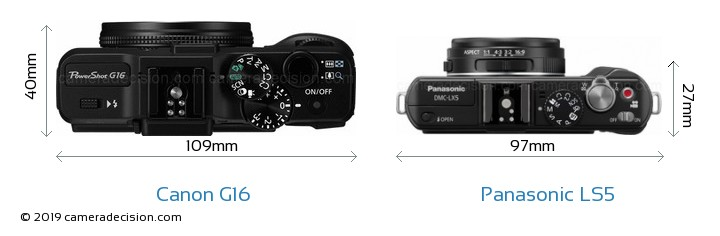 Canon G16 vs Panasonic LS5 Camera Size Comparison - Top View