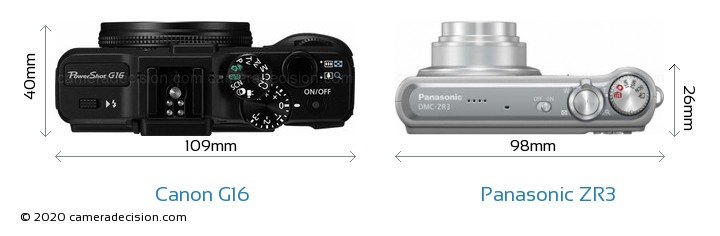 Canon G16 vs Panasonic ZR3 Camera Size Comparison - Top View
