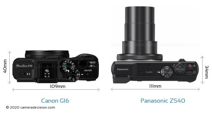 Canon G16 vs Panasonic ZS40 Camera Size Comparison - Top View