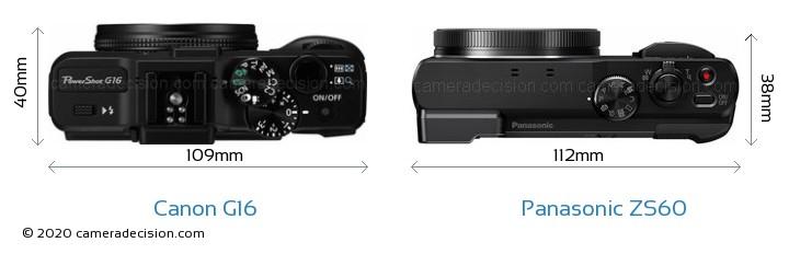 Canon G16 vs Panasonic ZS60 Camera Size Comparison - Top View