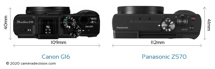 Canon G16 vs Panasonic ZS70 Camera Size Comparison - Top View