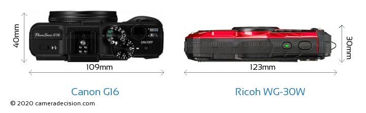 Canon G16 vs Ricoh WG-30W Camera Size Comparison - Top View