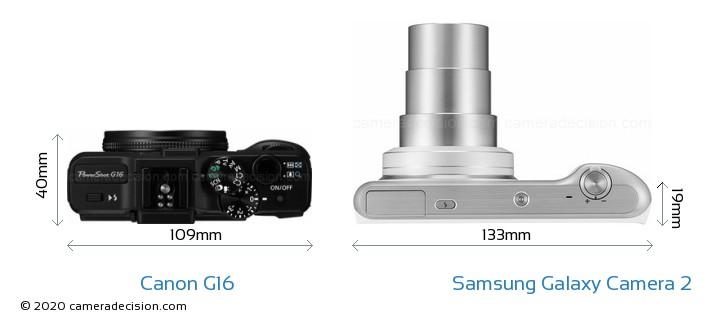 Canon G16 vs Samsung Galaxy Camera 2 Camera Size Comparison - Top View