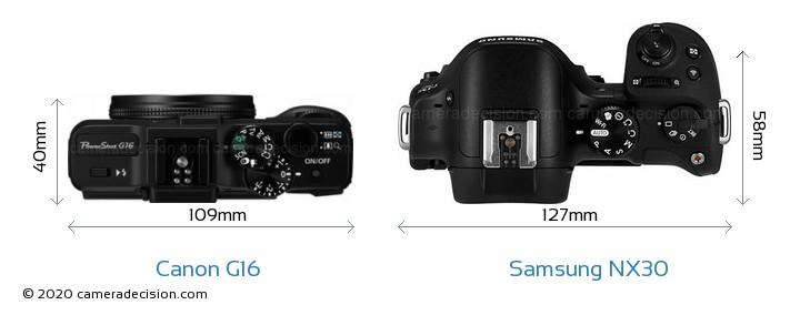Canon G16 vs Samsung NX30 Camera Size Comparison - Top View