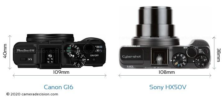 Canon G16 vs Sony HX50V Camera Size Comparison - Top View