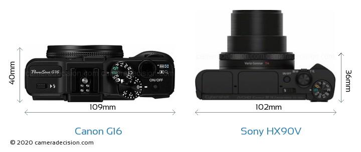 Canon G16 vs Sony HX90V Camera Size Comparison - Top View