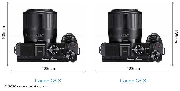 Canon G3 X vs Canon G3 X Camera Size Comparison - Top View