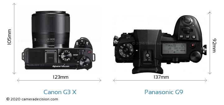 Canon G3 X vs Panasonic G9 Camera Size Comparison - Top View