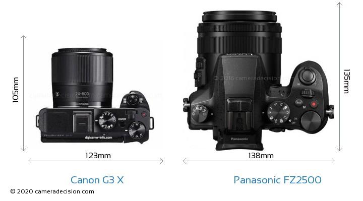 Canon G3 X vs Panasonic FZ2500 Camera Size Comparison - Top View