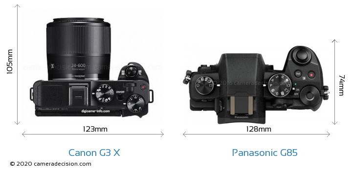 Canon G3 X vs Panasonic G85 Camera Size Comparison - Top View