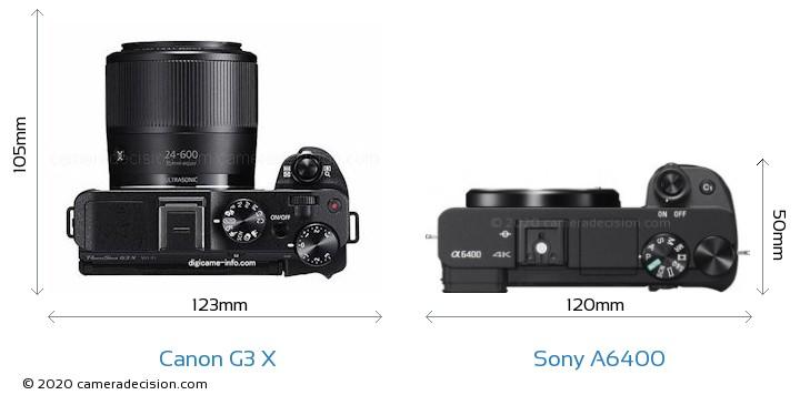 Canon G3 X vs Sony A6400 Camera Size Comparison - Top View