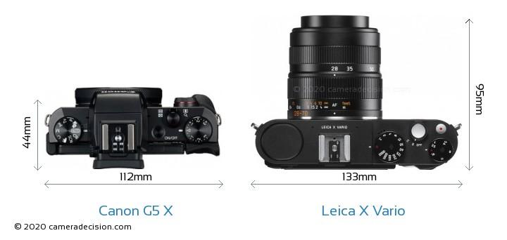 Canon G5 X vs Leica X Vario Camera Size Comparison - Top View