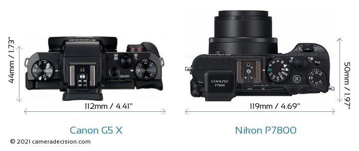 Canon G5 X vs Nikon P7800 Camera Size Comparison - Top View