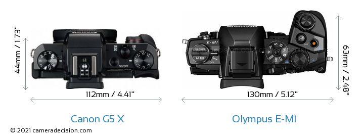 Canon G5 X vs Olympus E-M1 Camera Size Comparison - Top View