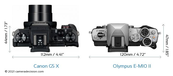 Canon G5 X vs Olympus E-M10 II Camera Size Comparison - Top View