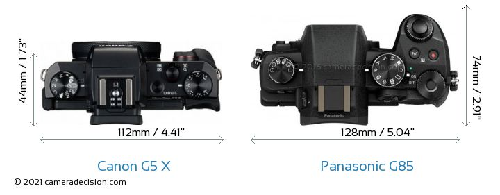Canon G5 X vs Panasonic G85 Camera Size Comparison - Top View
