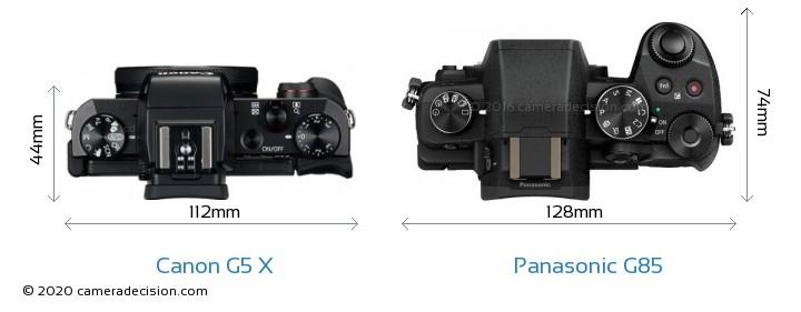 Canon G5 X vs Panasonic G85 Camera Size Comparison - Top View