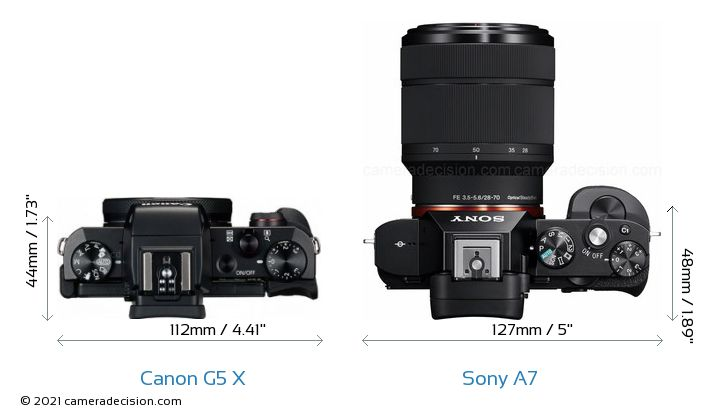 Canon G5 X vs Sony A7 Camera Size Comparison - Top View
