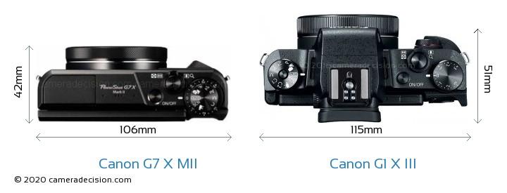 Canon G7 X MII vs Canon G1 X III Camera Size Comparison - Top View