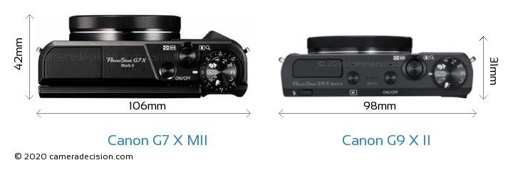 Canon G7 X MII vs Canon G9 X II Camera Size Comparison - Top View