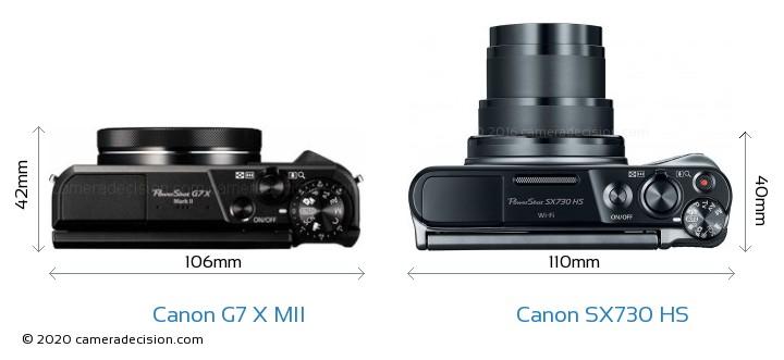Canon G7 X MII vs Canon SX730 HS Camera Size Comparison - Top View