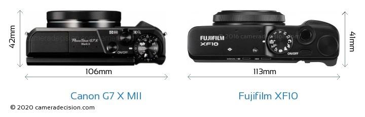 Canon G7 X MII vs Fujifilm XF10 Camera Size Comparison - Top View