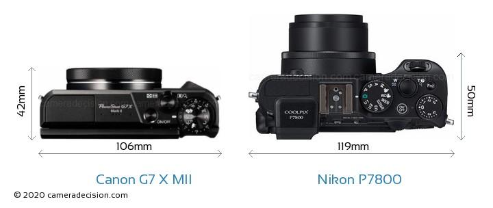 Canon G7 X MII vs Nikon P7800 Camera Size Comparison - Top View
